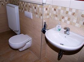 Koupelna s toaletou a umyvadlem