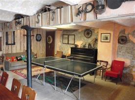 Společenská místnost se stolním tenisem, pohovkou, stolem a židlemi