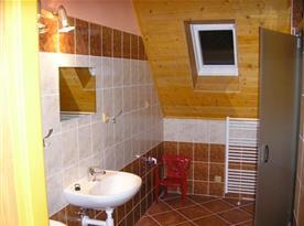Koupelna v apartmánu C se sprchou, umyvadlem a toaletou