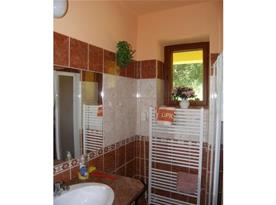 Koupelna se sprchovým koutem, umývadlem