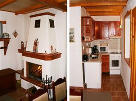 Osmilůžková chata - vybavená kuchyně s jídelnou a krbem