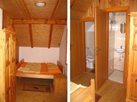 Osmilůžková chata - ložnice v patře s koupelnou
