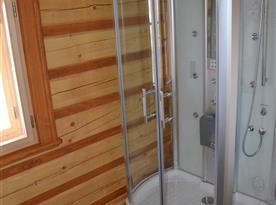 Koupelna v přízemí, parní saunový box s rádiem, světelnou terapií