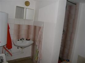Sociální zařízení se sprchovým koutem a zrcadlem