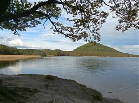 klidný břeh u Máchova jezera v části Staré Splavy - 500 m od chaty