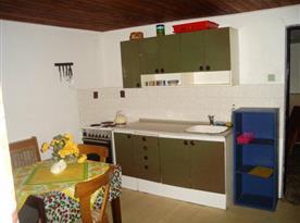 Kuchyně se sporákem, lednicí a rychlovarnou konvicí