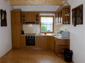 Kuchyně se sklokeramickou deskou, lednicí, myčkou a mikrovlnou troubou