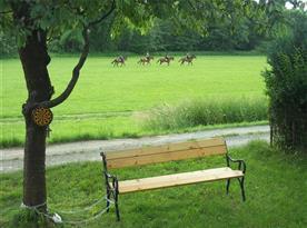 Posezení před chatou, lavička a velká houpačka k posezení
