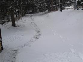 Zimní příchod k chatě
