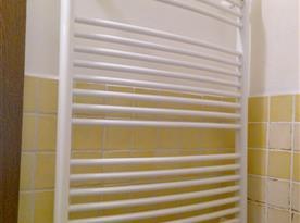 Koupelna: umyvadlo, zrcadlo, záchod, sprchový kout, sušák...