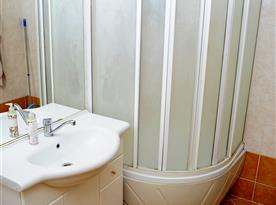 Koupelna se sprchovým koutem a umyvadlem
