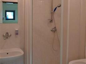Koupelna se sprchovým koutem a umývadly