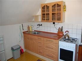Apartmán v podkroví - kuchyně se sporákem, lednicí a mikrovlnou troubou