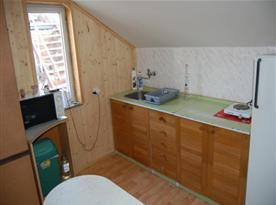 Kuchyně s linkou, lednicí, jednoplotýnkovým vařičem, mikrovlnou troubou a rychlovarnou konvicí