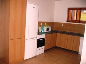 Kuchyně s linkou, lednicí, sklokeramickou deskou, mikrovlnou troubou, myčkou a rychlovarnou konvicí