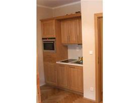 Kuchyně s linkou, dvouplotýnkovou sklokeramickou deskou, troubou, myčkou a lednicí