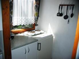 Kuchyně s linkou, lednicí, dvouplotýnkovým vařičem, mikrovlnou troubou a rychlovarnou konvicí
