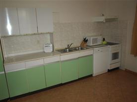 Kuchyně s linkou. lednicí, sporákem a mikrovlnnou troubou