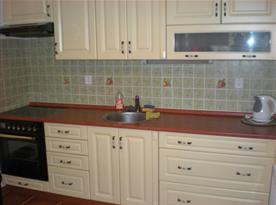 Kuchyně s linkou, varnou deskou, troubou, lednicí a rychlovarnou konvicí