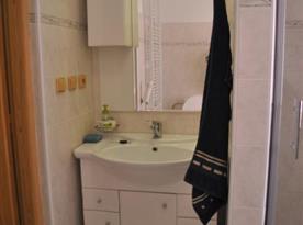 Pohled na sociální zařízení se sprchovacím koutem a umyvadlem