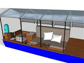 Obývací pokoj s pohovkou na vodě dá se rozložit na 3 lůžka