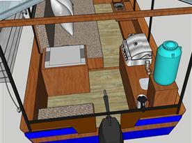 Místo řidiče je umístěné u grilu a kuchyňky.