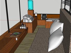 Speciální stůl s ramenem slouží k jídlu nebo na práci na PC
