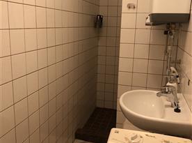 technická koupelna se sprchou a pračkou v přízemí