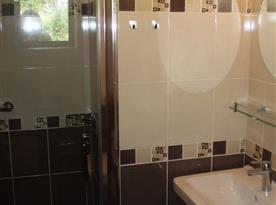 Koupelna se sprchovým kout, umyvadlem a toaletou