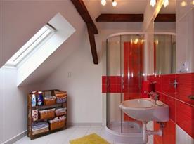 Sprchový kout a umyvadlo v koupelně v patře