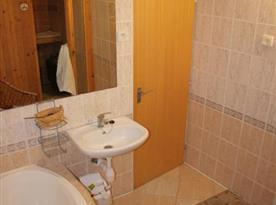 Koupelna se sprchovým koutem a umývadlem u sauny