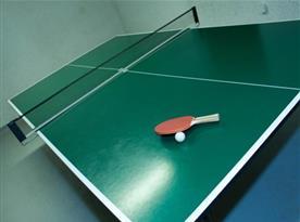 Stolní tenis v místnosti v suterénu chaty