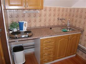 Kuchyně A s linkou, dvouplotýnkovým vařičem, lednicí a rychlovarnou konvicí