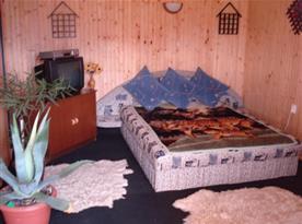 Ložnice s manželskou postelí a televizí